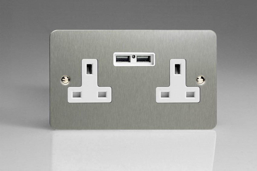 XFS5U2W Varilight 2 Gang, 13 Amp Unswitched Socket with 2 Optimised USB Charging Ports, White Insert. Ultra Flat Brushed Steel Effect