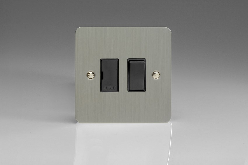 XFS6B-SP Varilight 1 Gang (Single), 13 Amp Switched Fused Spur, Ultra Flat Brushed Steel (Bespoke & Special)