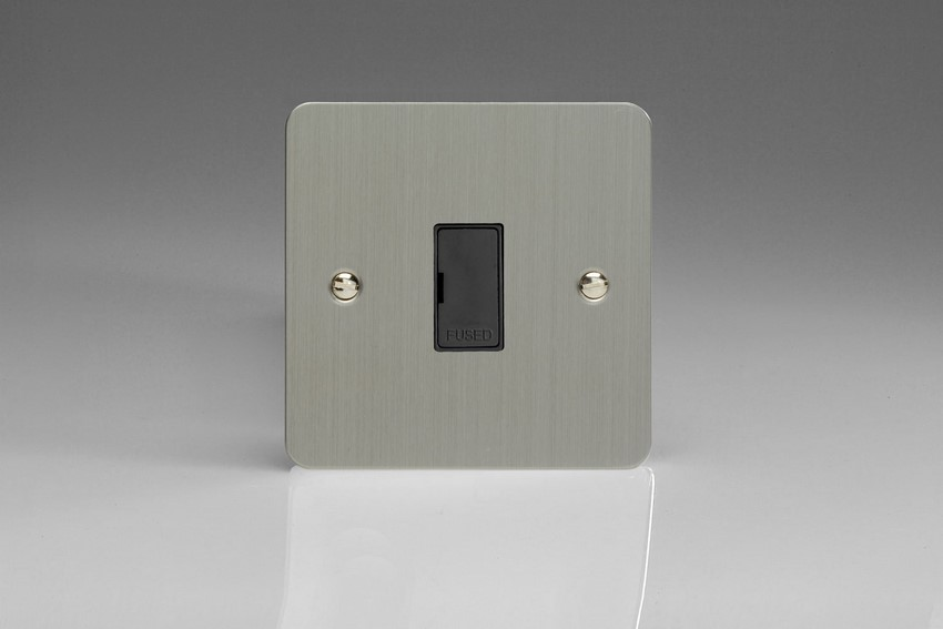 XFS6UB-SP Varilight 1 Gang (Single), 13 Amp Unswitched Fused Spur, Ultra Flat Brushed Steel (Bespoke & Special)