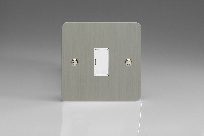 XFS6UW-SP Varilight 1 Gang (Single), 13 Amp Unswitched Fused Spur, Ultra Flat Brushed Steel (Bespoke & Special)