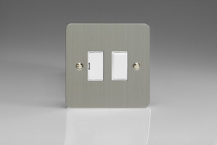 XFS6W-SP Varilight 1 Gang (Single), 13 Amp Switched Fused Spur, Ultra Flat Brushed Steel (Bespoke & Special)