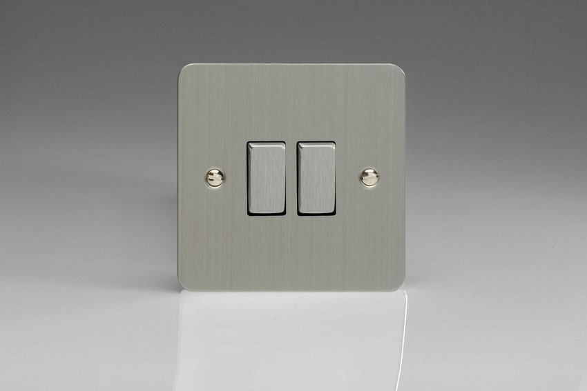 Varilight 2 Gang Comprising of 1 Intermediate (3 Way) and 1 Standard (1 or 2 Way) 10 Amp Switch Ultra Flat Brushed Steel