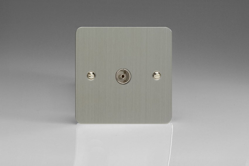XFS8 Varilight 1 Gang (Single), Co-axial TV Socket, Ultra Flat Brushed Steel