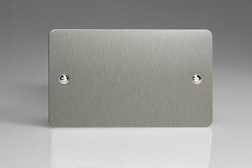 XFSDB Varilight 2 Gang (Double), Blank Plate, Ultra Flat Brushed Steel (Double Plate)