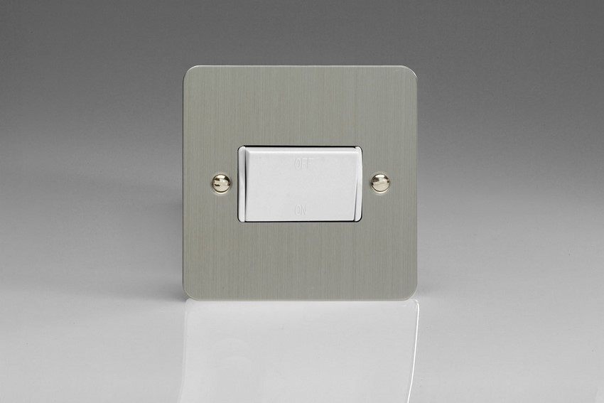 XFSFiW Varilight 10 Amp Fan isolating Switch (3 Pole), Ultra Flat Brushed Steel