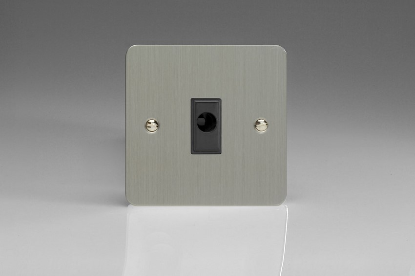 XFSFOB Varilight Flex Outlet Plate with Cable Clamp. Black insert, Ultra Flat Brushed Steel