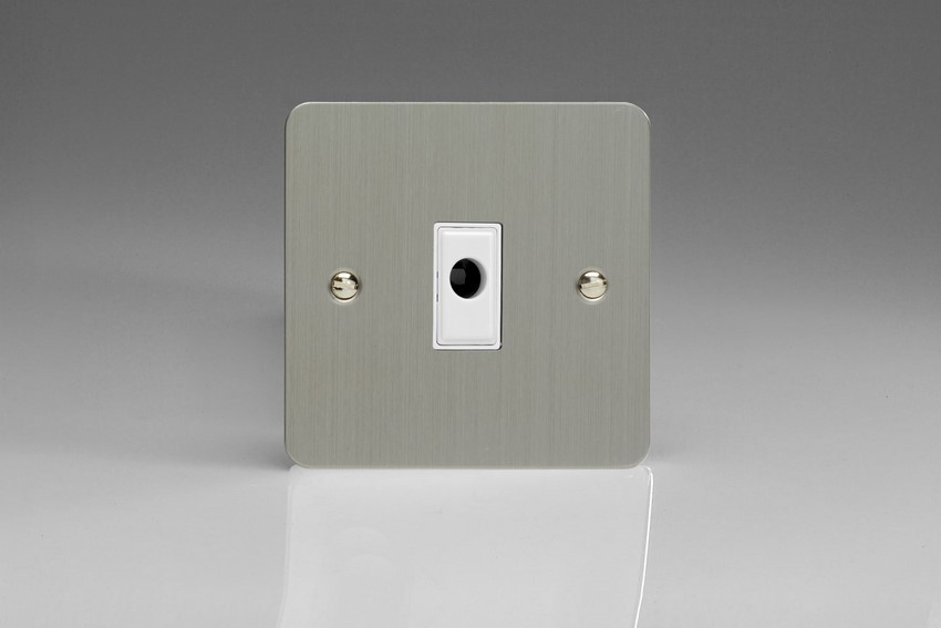 XFSFOW-SP Varilight Flex Outlet Plate with Cable Clamp. White insert, Ultra Flat Brushed Steel (Bespoke & Special)