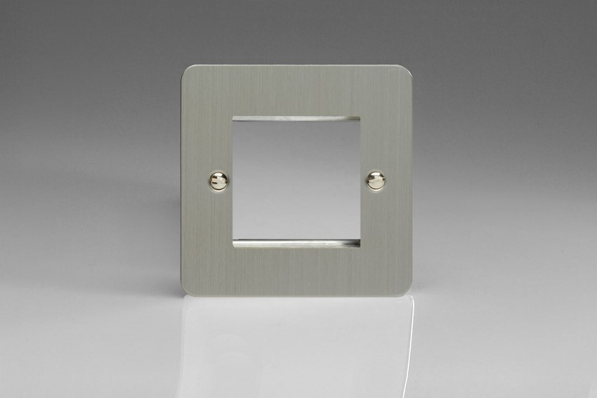 XFSG2 Varilight Single Size Data Grid Face Plate For 2 Data Modules, Ultra Flat Brushed Steel