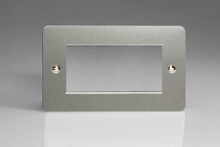 XFSG4 Varilight Double Size Data Grid Face Plate For 3 or 4 Data Modules, Ultra Flat Brushed Steel (Double Plate)