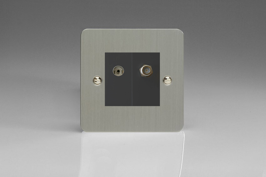 XFSG88SB Varilight 2 Gang (Double), Co-axial TV and Satellite Socket, Ultra Flat Brushed Steel