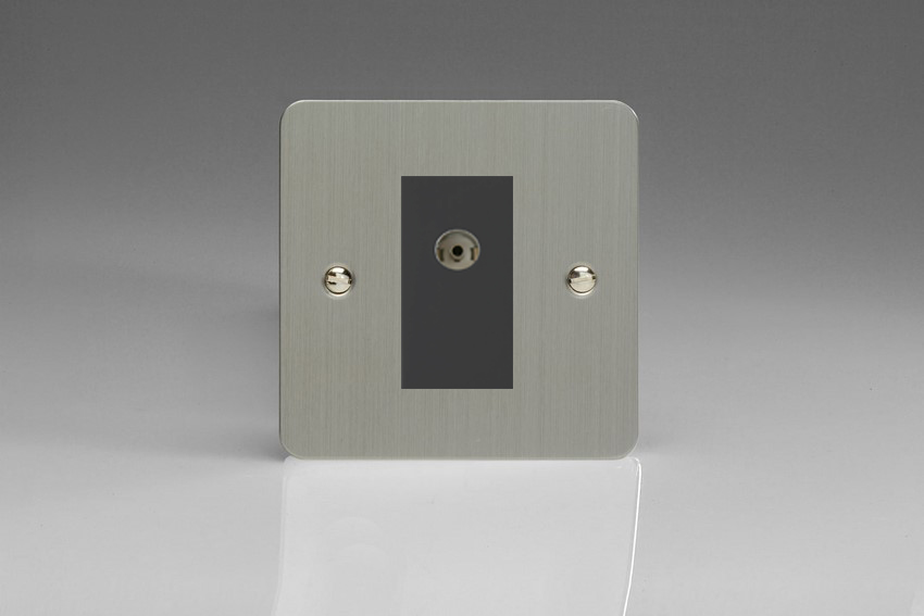 XFSG8ISOB Varilight 2 Gang (Double), Isolated Co-axial TV Socket, Ultra Flat Brushed Steel