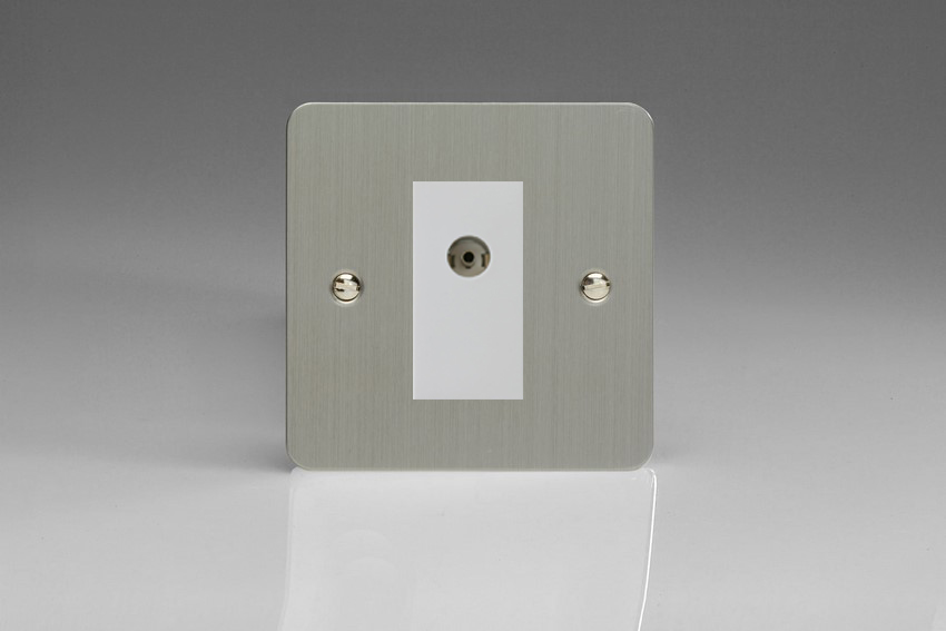 XFSG8ISOW Varilight 2 Gang (Double), Isolated Co-axial TV Socket, Ultra Flat Brushed Steel