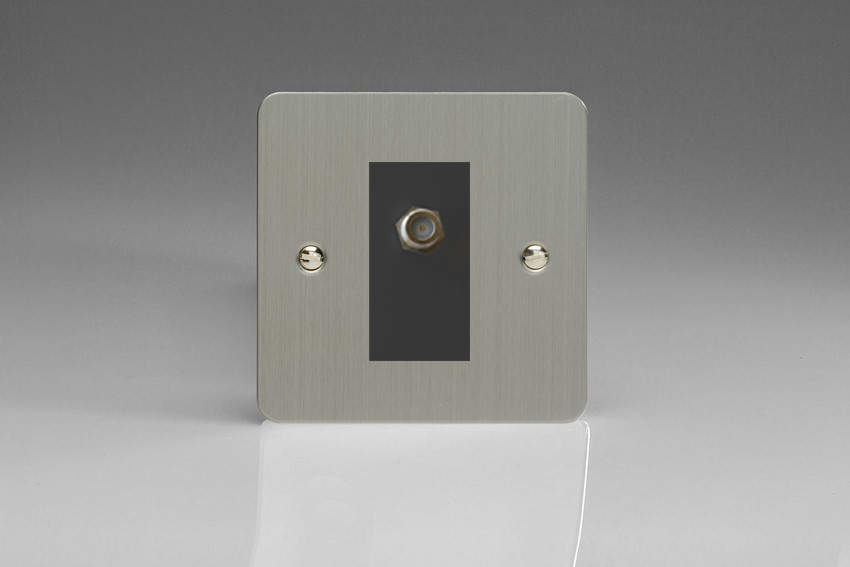 XFSG8SB Varilight 1 Gang (Single), Satellite TV Socket, Ultra Flat Brushed Steel with Black insert