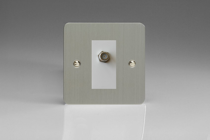 XFSG8SW Varilight 1 Gang (Single), Satellite TV Socket, Ultra Flat Brushed Steel with White insert