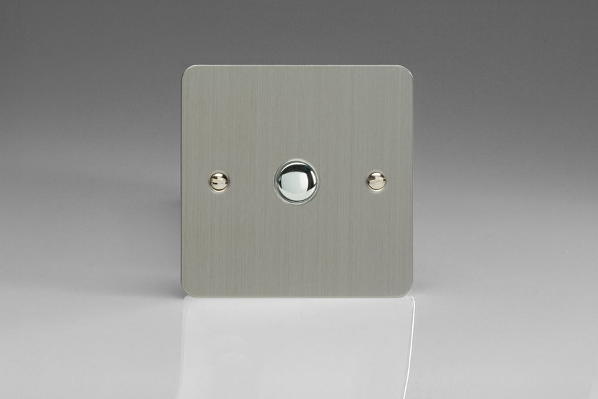 XFSM1 Varilight 1 Gang (Single), 1 Way, 6 Amp Retractive/Momentary Switch (Push To Make), Ultra Flat Brushed Steel