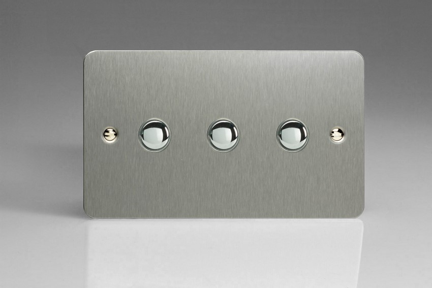 XFSM3 Varilight 3 Gang (Triple), 1 Way, 6 Amp Impulse Retractive/Momentary Switch (Push To Make), Ultra Flat Brushed Steel