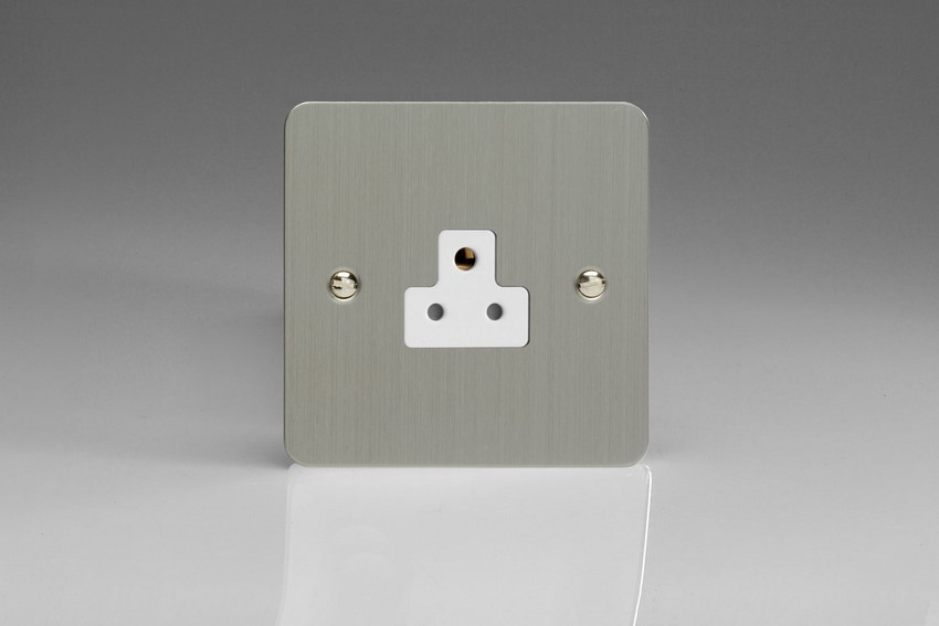 XFSRP2AW Varilight 1 Gang (Single), 2 Amp Round Pin Socket, Ultra Flat Brushed Steel
