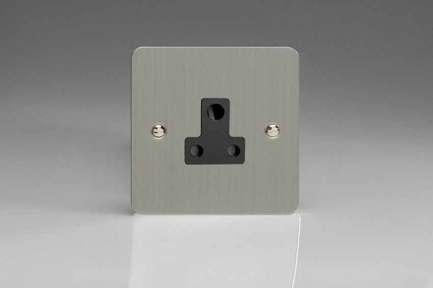 XFSRP5AB Varilight 1 Gang (Single), 5 Amp Round Pin Socket, Ultra Flat Brushed Steel