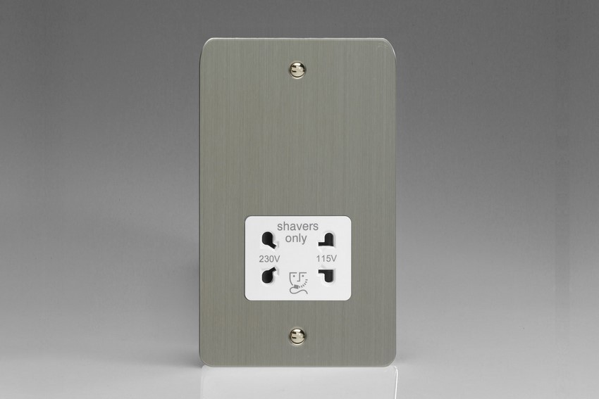 XFSSSW Varilight Dual Voltage Shaver Socket, Ultra Flat Brushed Steel