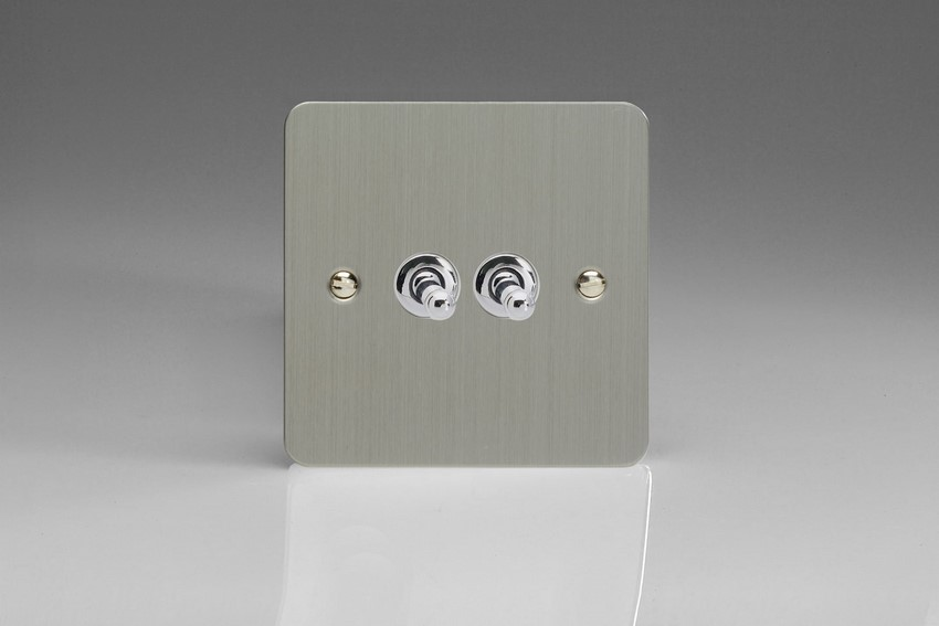 XFST2 Varilight 2 Gang (Double), 1 or 2 Way 10 Amp Classic Toggle Switch, Ultra Flat Brushed Steel