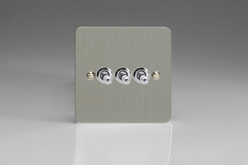 XFST3 Varilight 3 Gang (Triple), 1 or 2 Way 10 Amp Classic Toggle Switch, Ultra Flat Brushed Steel
