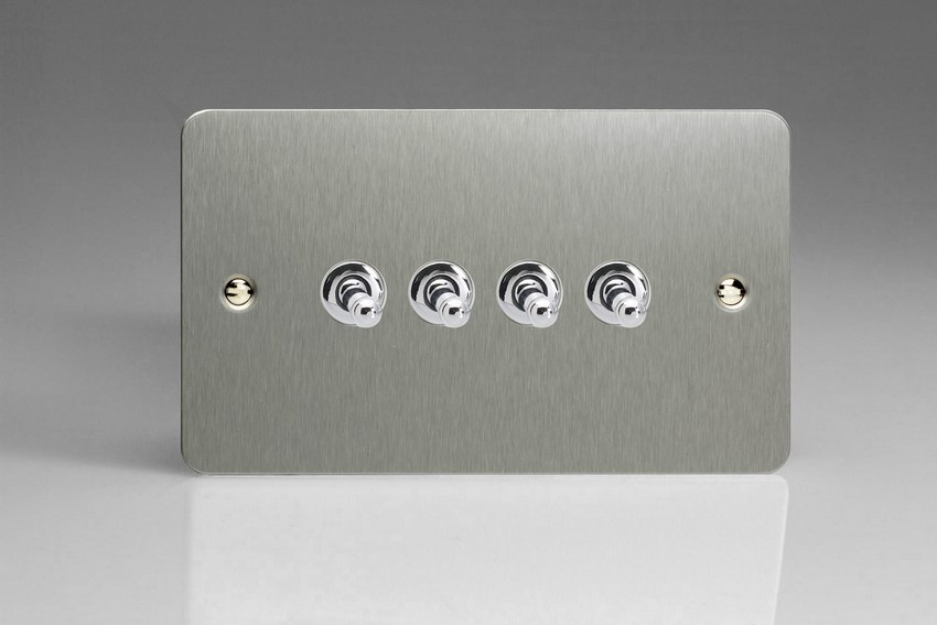 XFST9 Varilight 4 Gang (Quad), 1or 2 Way 10 Amp Classic Toggle Switch, Ultra Flat Brushed Steel (Double Plate)