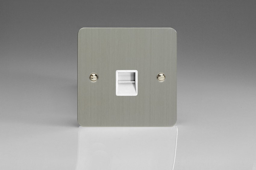 XFSTMW Varilight 1 Gang (Single), Telephone Master Socket, Ultra Flat Brushed Steel
