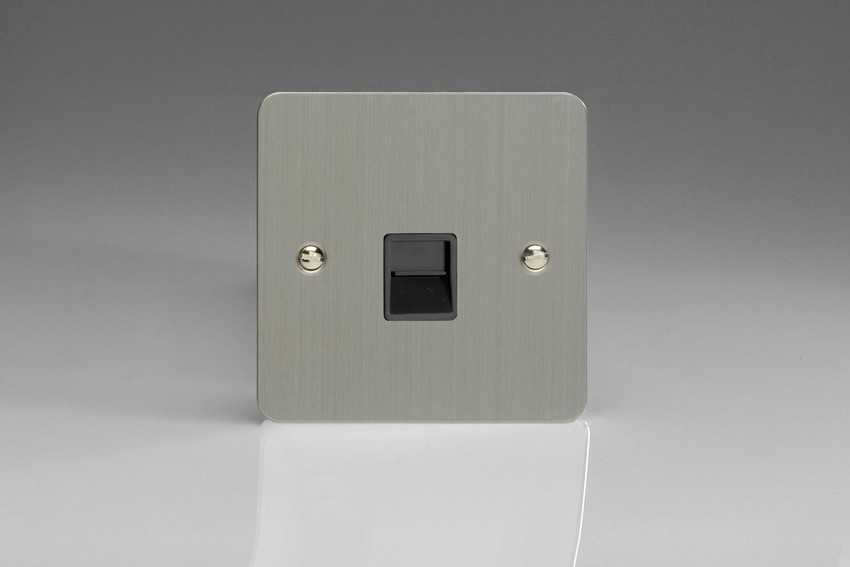 XFSTSB Varilight 1 Gang (Single), Telephone Slave Socket, Ultra Flat Brushed Steel