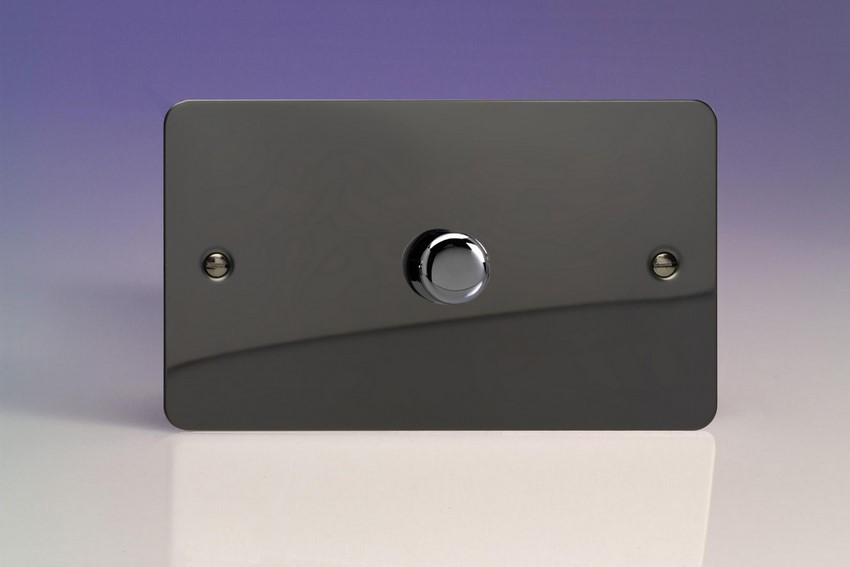 IFIDP1001 Varilight V-Plus Series 1 Gang 1 or 2 Way 1000 Watt/VA Dimmer on a Double Plate, Ultra Flat Iridium Black