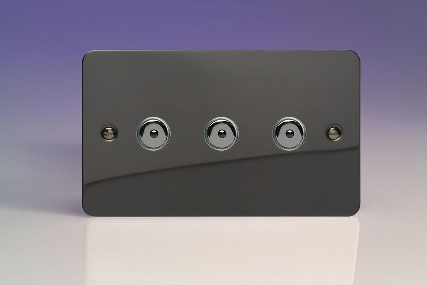 Varilight V-Pro IR Series 3 Gang 0-100 Watts Master Trailing Edge LED Dimmer Ultra Flat Iridium Black