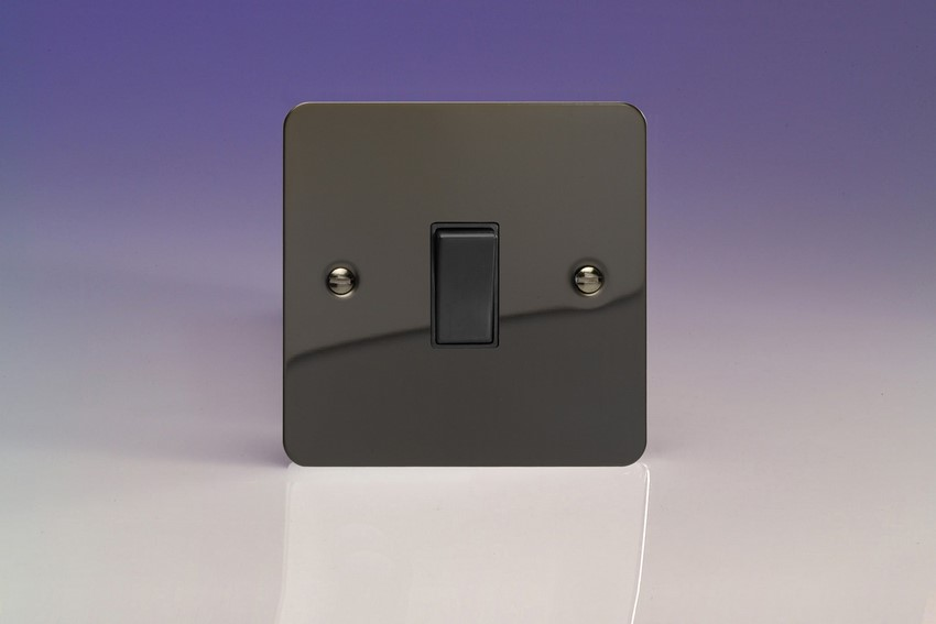 XFI20B-SP Varilight 1 Gang (Single), 20 Amp Double Pole Switch, Ultra Flat Iridium Black (Bespoke & Special)
