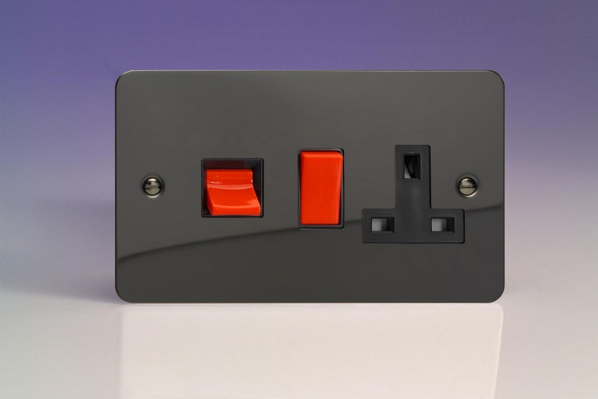 XFI45PB Varilight 45 Amp Cooker Panel with 13 Amp Switched Socket (Horizontal Double Size), Ultra Flat Iridium Black
