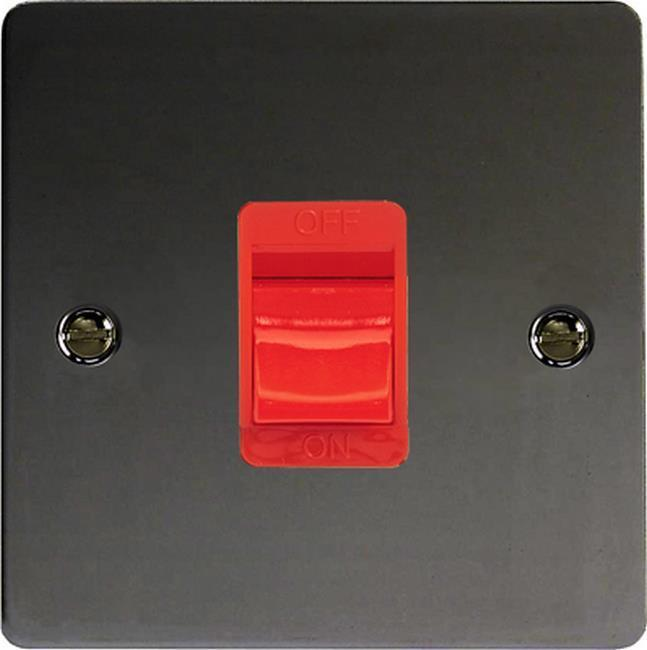 XFI45SB Varilight 45 Amp Cooker Switch (Single Size), Ultra Flat Iridium Black