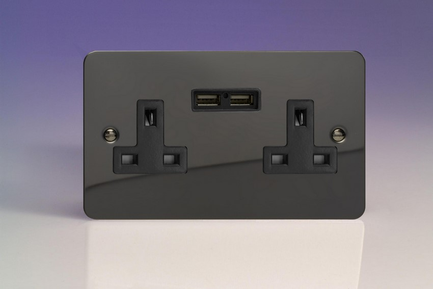 XFI5U2B Varilight 2 Gang, 13 Amp Unswitched Socket with 2 Optimised USB Charging Ports, Black Insert. Ultra Flat Iridium Black Effect
