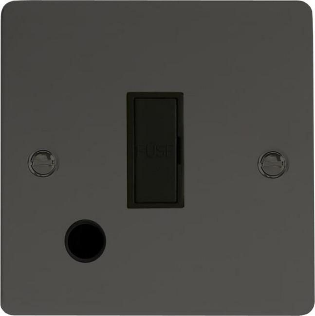 XFI6UFOB Varilight 1 Gang (Single), 13 Amp Unswitched Fused Spur with Flex Outlet, Ultra Flat iridium Black