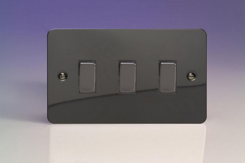 XFI93D Varilight 3 Gang (Triple), 1or 2 Way 10 Amp Switch, Ultra Flat iridium Black (Double Plate)