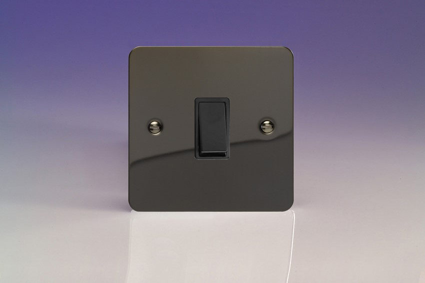 XFIBPB Varilight 1 Gang (Single),1 Way, 10 Amp Retractive Switch (Bell and Blind Switch), Ultra Flat iridium Black