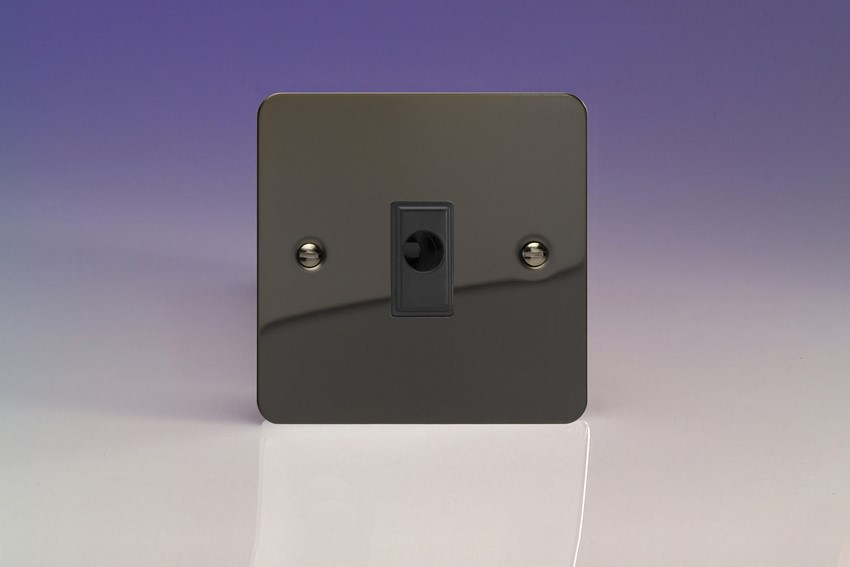 XFIFOB-SP Varilight Flex Outlet Plate with Cable Clamp. Black insert, Ultra Flat iridium Black (Bespoke & Special)