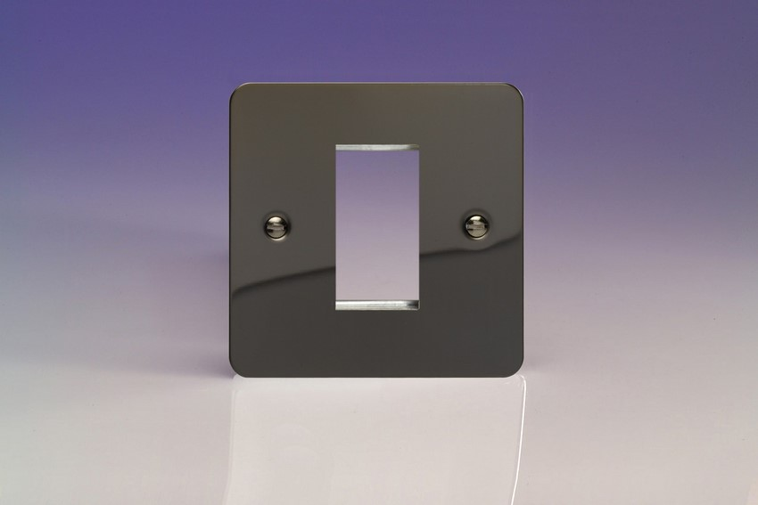XFIG1 Varilight Single Size Data Grid Face Plate For 1 Data Module Width, Ultra Flat iridium Black