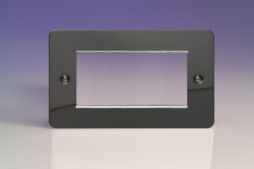 XFIG4 Varilight Double Size Data Grid Face Plate For 3 or 4 Data Modules, Ultra Flat iridium Black (Double Plate)