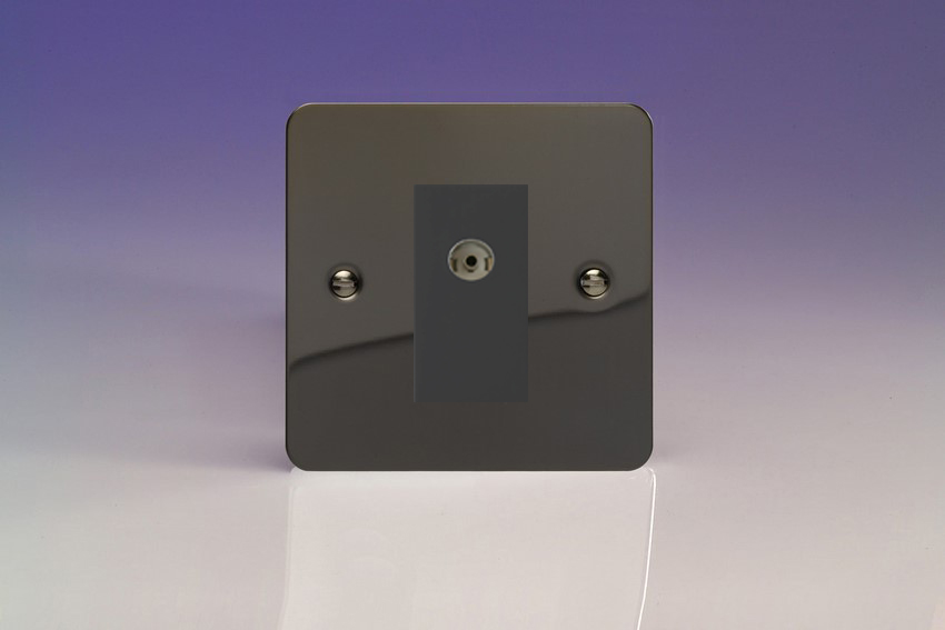 XFIG8ISOB Varilight 2 Gang (Double), Isolated Co-axial TV Socket, Ultra Flat iridium Black