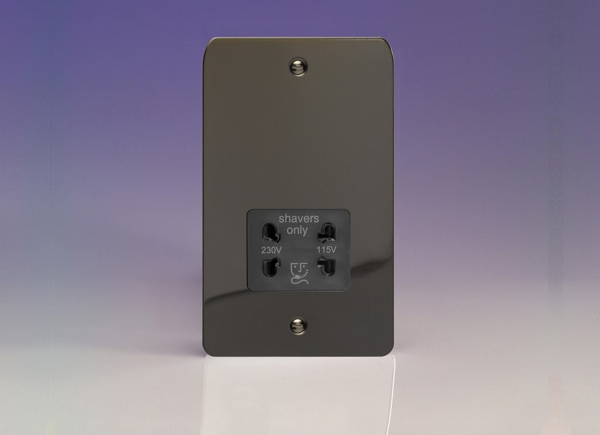 XFISSB Varilight Dual Voltage Shaver Socket, Ultra Flat iridium Black