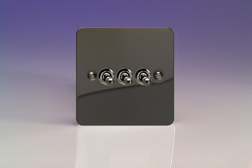 XFIT3 Varilight 3 Gang (Triple), 1 or 2 Way 10 Amp Classic Toggle Switch, Ultra Flat iridium Black