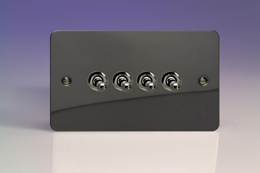 XFIT9 Varilight 4 Gang (Quad), 1or 2 Way 10 Amp Classic Toggle Switch, Ultra Flat iridium Black (Double Plate)