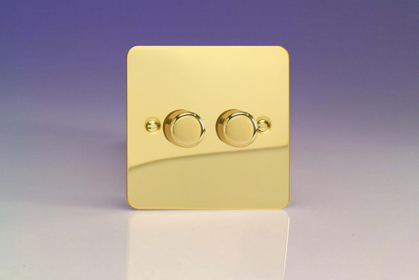 HFV4 Varilight V-Dim Series 2 Gang, 1 or 2 Way 2x250 Watt Dimmer, Ultra Flat Polished Brass Effect