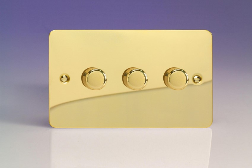 JFVDP503 Varilight V-Pro Series 3-Gang 2-Way Push-On/Off Rotary LED Dimmer 3 x 10-250W (Max 30 LEDs) (Twin Plate), Ultra Flat Polished Brass Effect