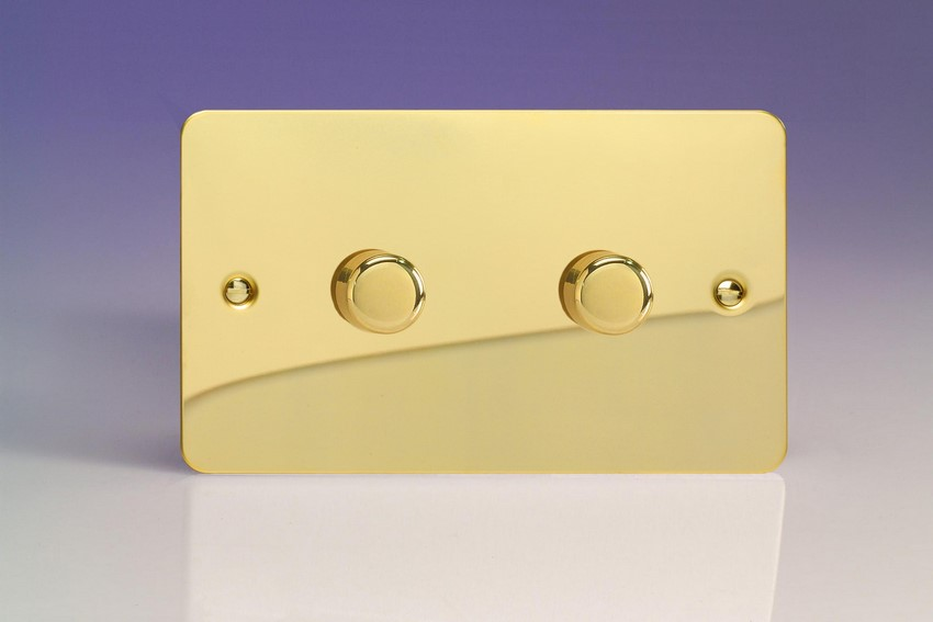 KFVDP302 Varilight V-Com Series 2 Gang, 1 or 2 Way 40-300 Watt Commercial LED Dimmer, Ultra Flat Polished Brass Effect