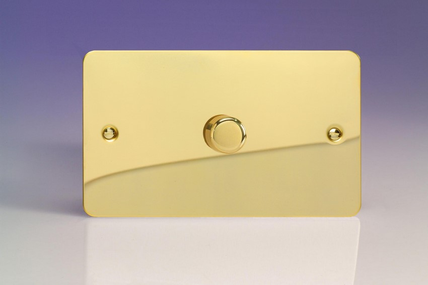 KFVDP601 Varilight V-Com Series 1 Gang, 1 or 2 Way 60-600 Watt Commercial LED Dimmer, Ultra Flat Polished Brass Effect