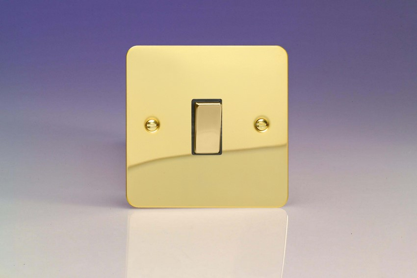 XFV20D Varilight 1 Gang (Single), 1 Way 20 Amp Double Pole Switch, Ultra Flat Polished Brass Effect