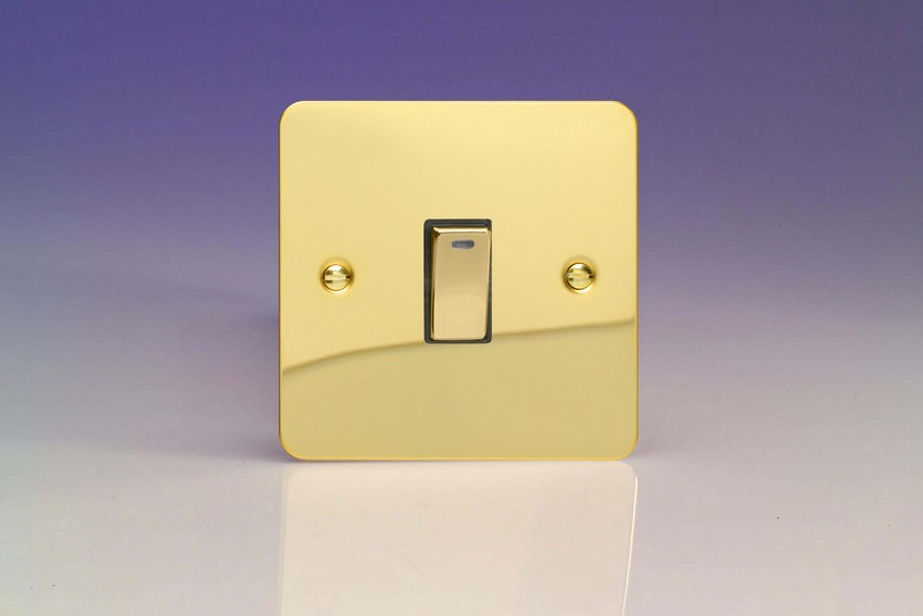 XFV20ND Varilight 1 Gang (Single), 20 Amp Double Pole Switch with Neon, Ultra Flat Polished Brass Effect